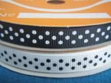 10mm WHITE, BLACK, RED & DEEP TURQUOISE POLKA DOTS GROSGRAIN RIBBONS